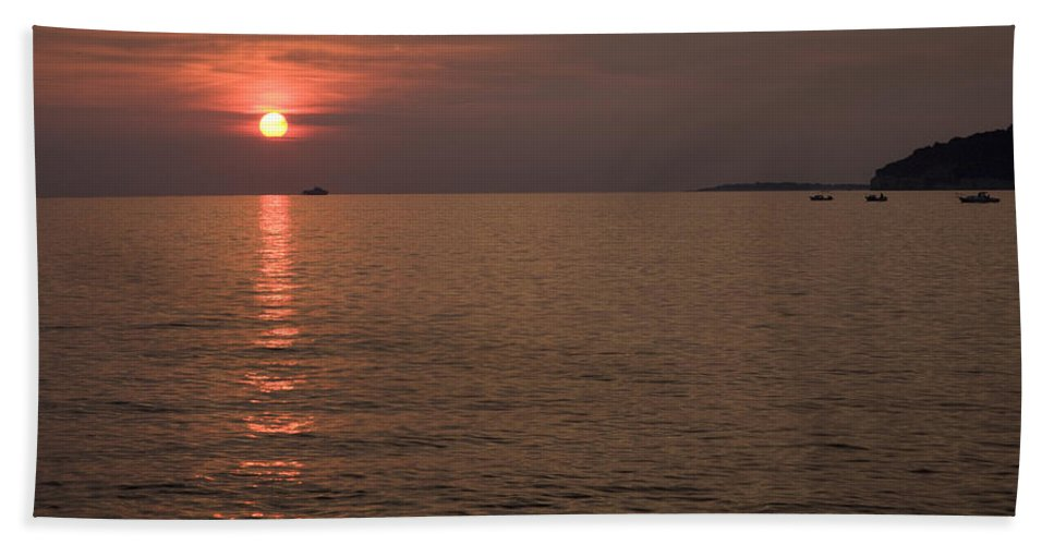 Sea Beach Towel featuring the photograph Red Dusk Over Pula by Ian Middleton