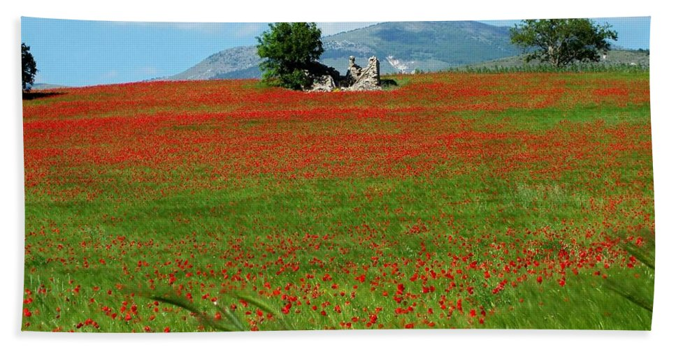 Poppies Beach Towel featuring the photograph Red Fields by Judy Kirouac