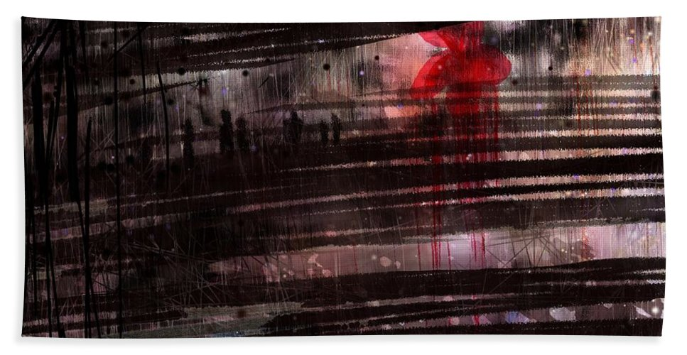 Flower Beach Towel featuring the digital art Red Flower by William Russell Nowicki