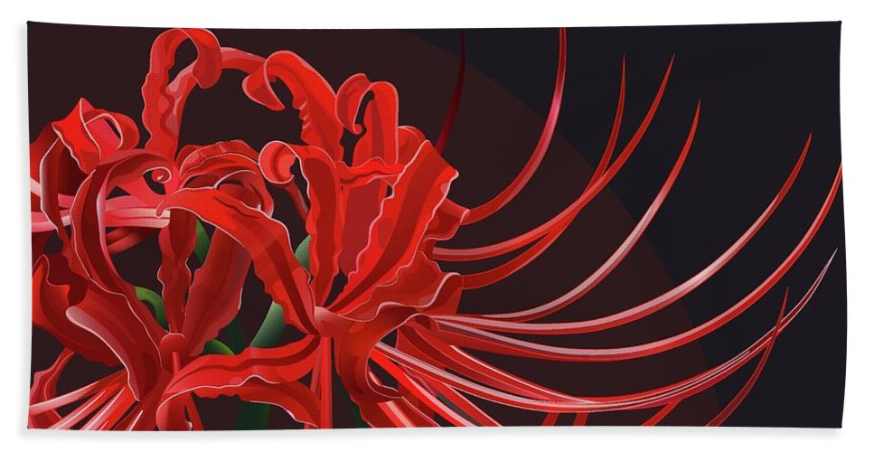 Red Flowers Beach Towel featuring the digital art Red Flowers by Kristina Afanasieva