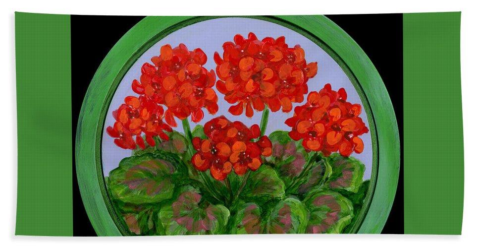 Folkartanna Beach Towel featuring the painting Red Geranium On Wood by Anna Folkartanna Maciejewska-Dyba