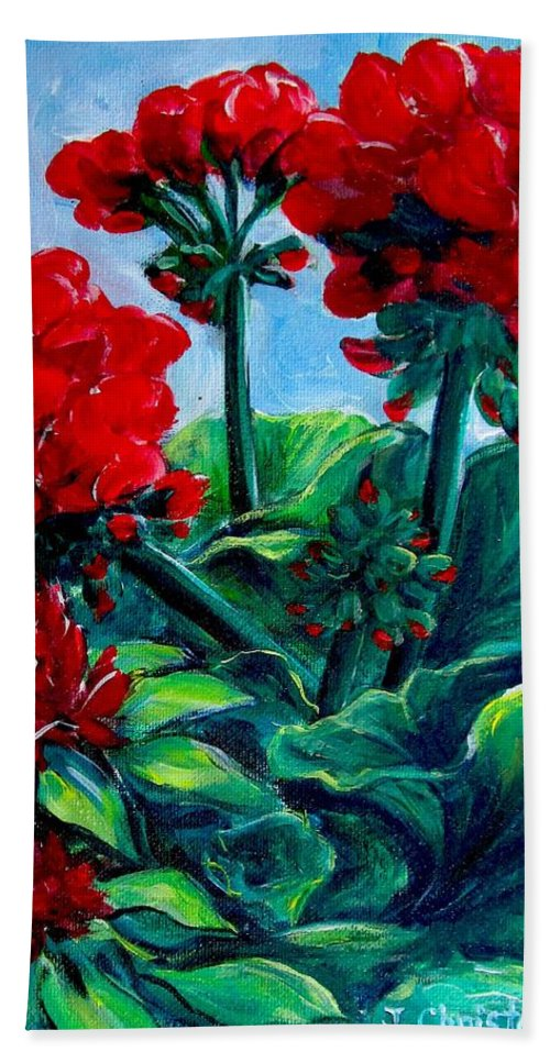 Floral Beach Towel featuring the painting Red Geraniums by Jennifer Christenson