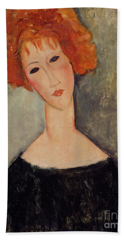 Red Beach Towel featuring the painting Red Head by Amedeo Modigliani
