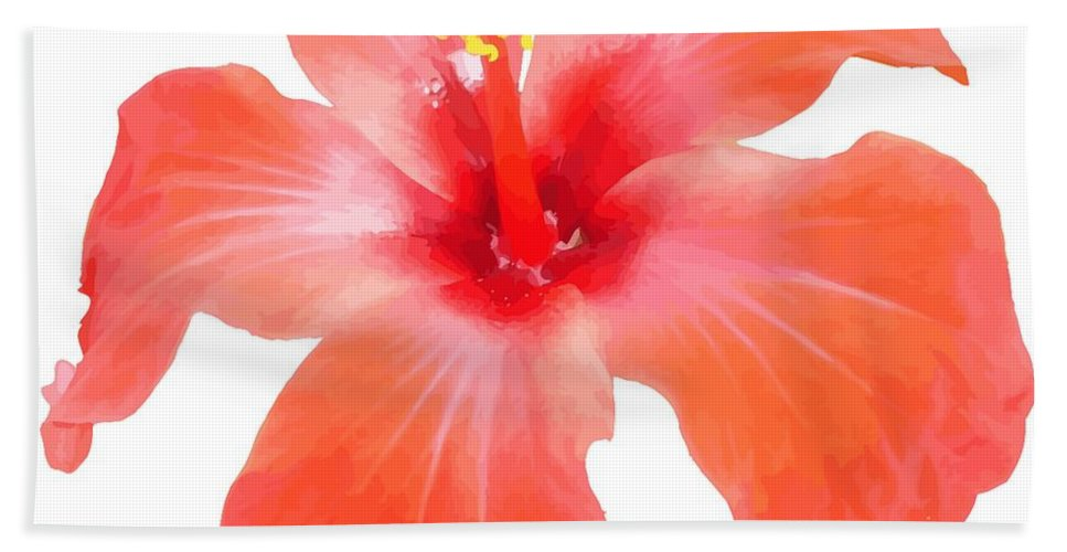 Hibiscus Beach Towel featuring the digital art Red Hibiscus Vector Isolated by Taiche Acrylic Art