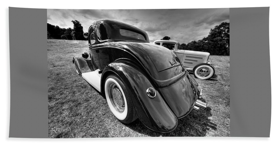 Hotrod Beach Towel featuring the photograph Red Hot Rod In Black And White by Gill Billington