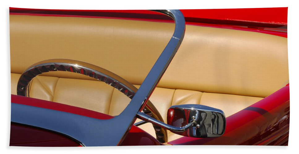Car Beach Towel featuring the photograph Red Hot Rod by Jill Reger