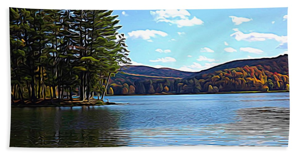 Red House Lake Allegany State Park In Autumn Beach Towel featuring the photograph Red House Lake Allegany State Park In Autumn Expressionistic Effect by Rose Santuci-Sofranko