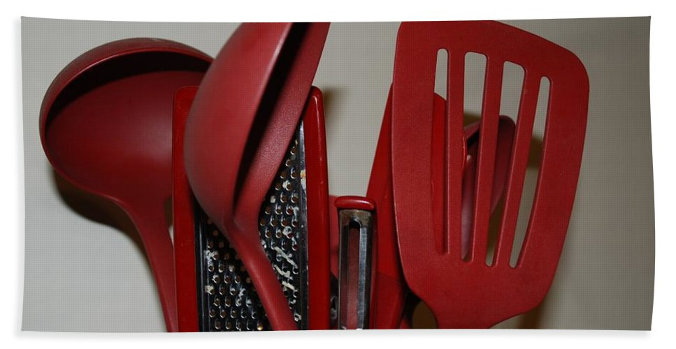 Utencils Beach Towel featuring the photograph Red Kitchen Utencils by Rob Hans
