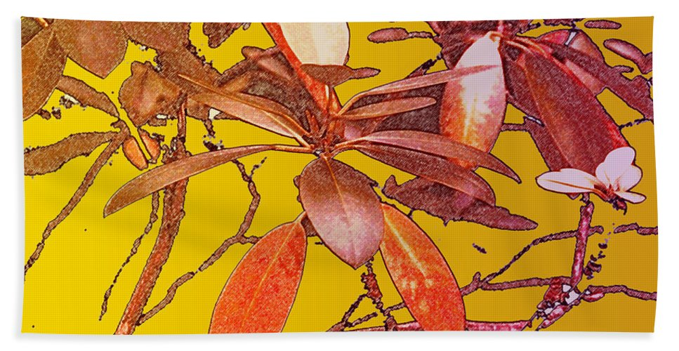 Red Beach Towel featuring the photograph Red Leaves Gold Sunset by Ian MacDonald