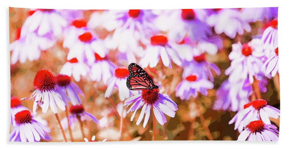 Butterfly Beach Towel featuring the digital art Red Monarch by David Stasiak
