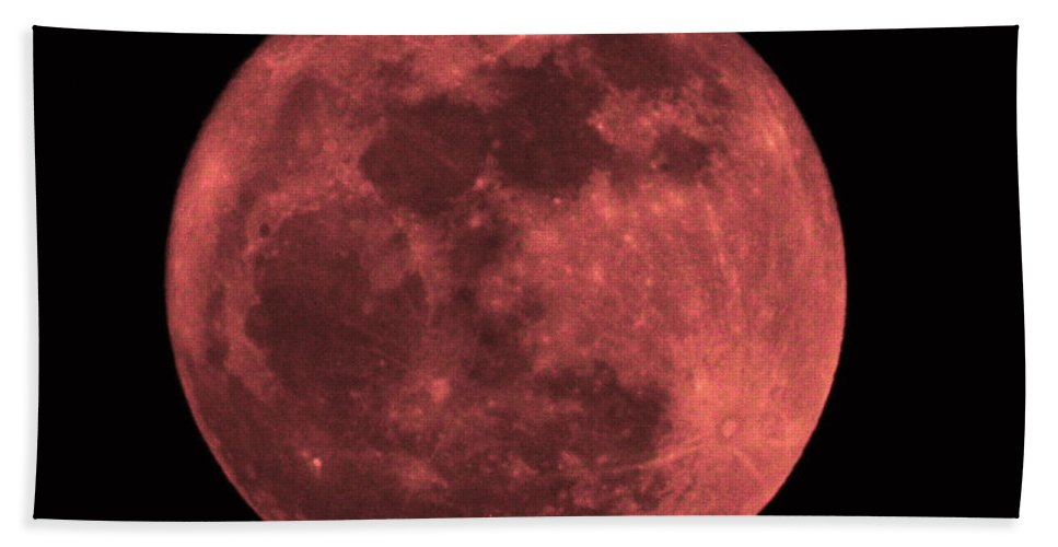 Moon Beach Towel featuring the photograph Red Moon by Bill Cannon