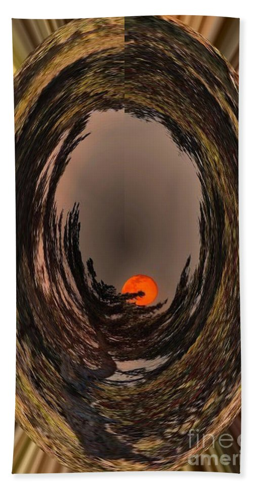 Red Moon Beach Towel featuring the digital art Red Moon Rising by Barbara Griffin