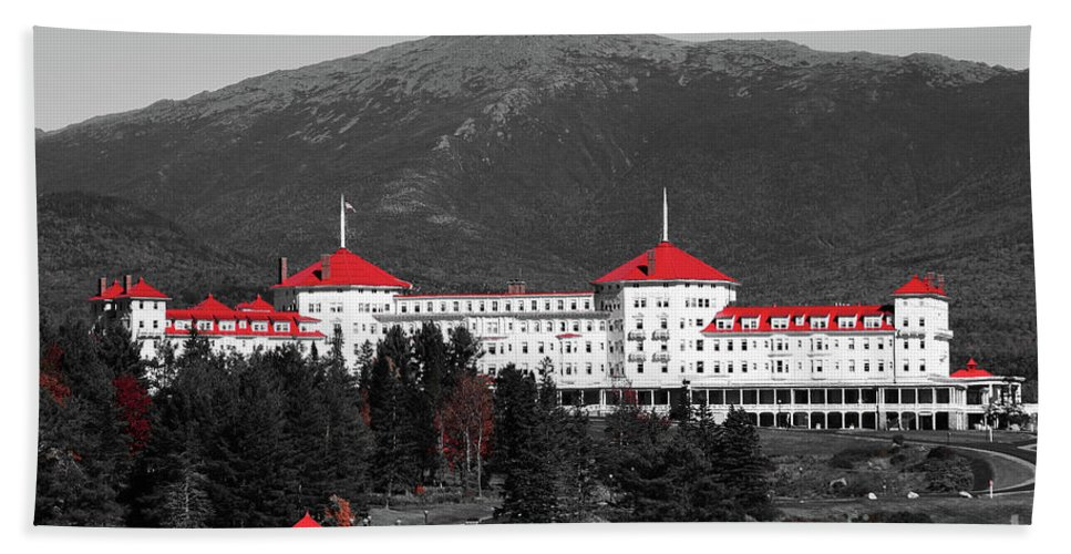 Red Beach Towel featuring the photograph Red Mount Washington Resort by Patti Whitten