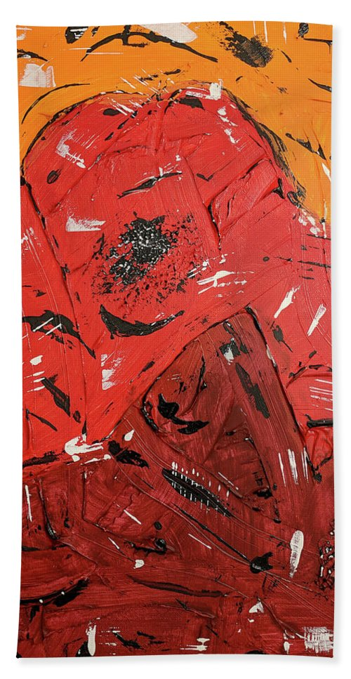 Abstract Art Beach Towel featuring the painting Red Mountain by Trisha Pena