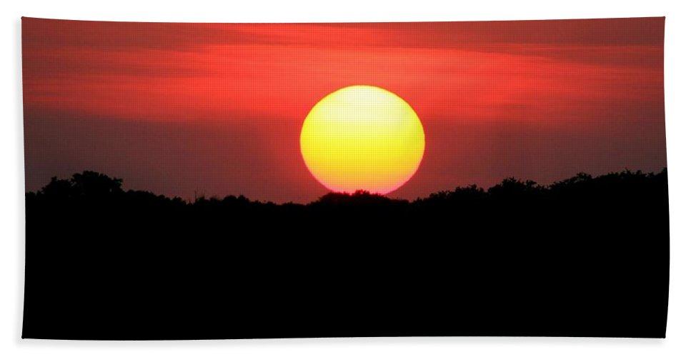 Sunset Beach Towel featuring the photograph Red Myakka Sunset by Myrna Bradshaw