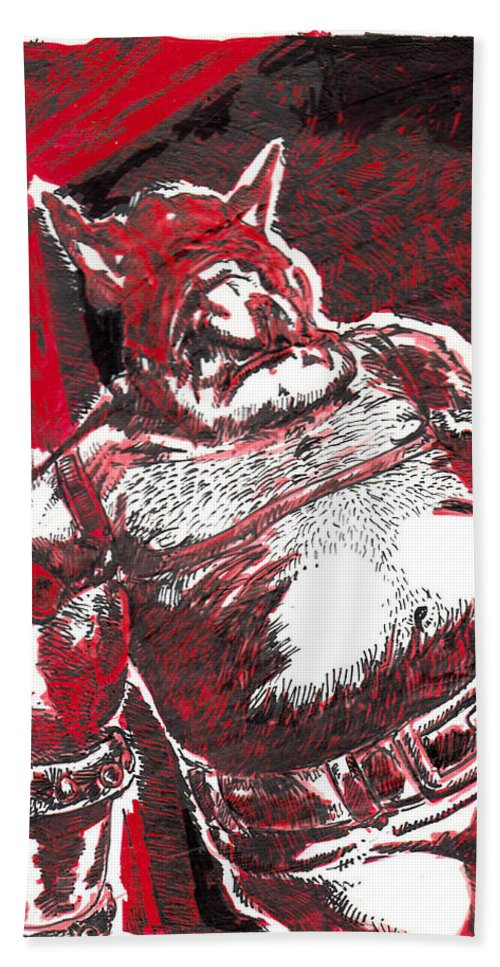 Fantasy Beach Towel featuring the drawing Red Ogre by Tobey Anderson