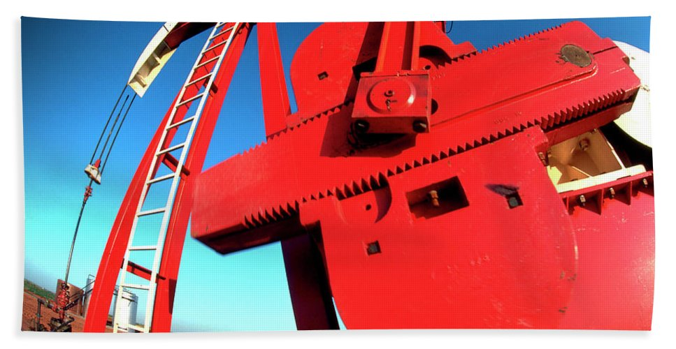 Oil Gas Industry Pump Jack Well Oilfield American America Blue Black Production Platform Drilling Rig Geology Exploration Pipeline Refining Up Down Mid Stream Abstract Petroleum Petrochemical Gas Drill Driller Technology Digital Manipulation Texas Men Decor Art Fine Office Industrial Wells Pumps Graphic Photograph Photo Image Arty Oilwell Offshore Energy Pumpjack Barrel Art Crude Oilman Toolpusher Beach Towel featuring the photograph Red Oil Well Pump Oilfield by Dennis Thompson