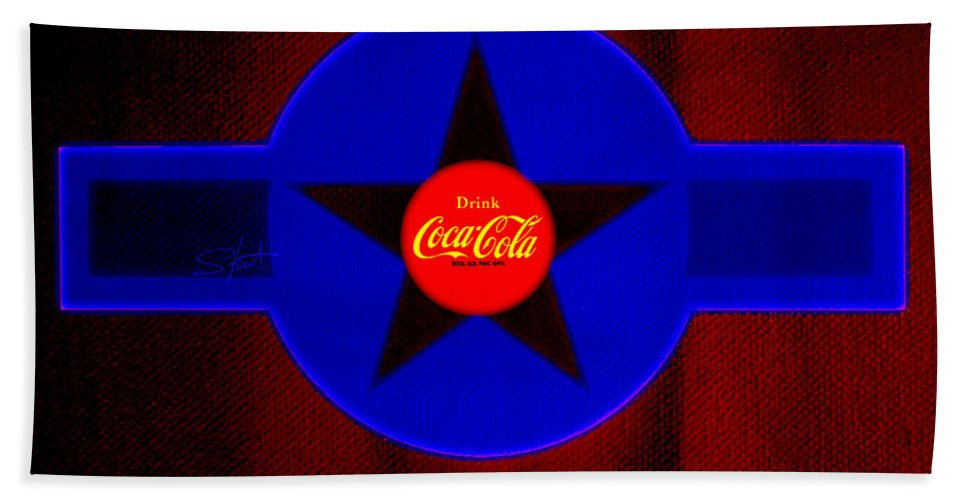 Label Beach Towel featuring the painting Red On Red With Blue by Charles Stuart