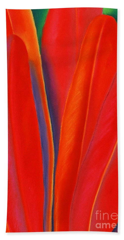 Red Beach Towel featuring the painting Red Petals by Lucy Arnold