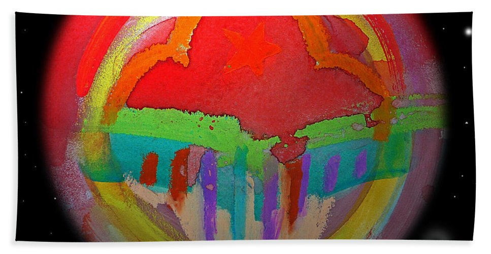 Landscape Beach Towel featuring the painting Red Planet by Charles Stuart