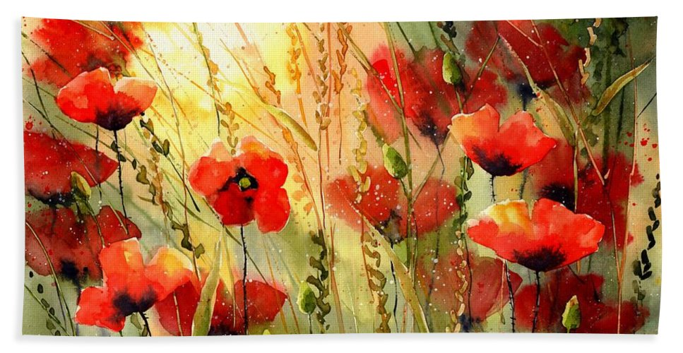 Red Beach Towel featuring the painting Red Poppies watercolor by Suzann Sines