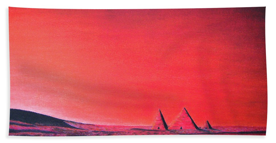 Science Fiction Beach Towel featuring the drawing Red Pyramid W by Mayhem Mediums