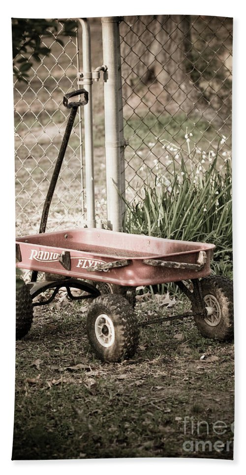 Childs Wagon Beach Towel featuring the photograph Red Rider by Kim Henderson