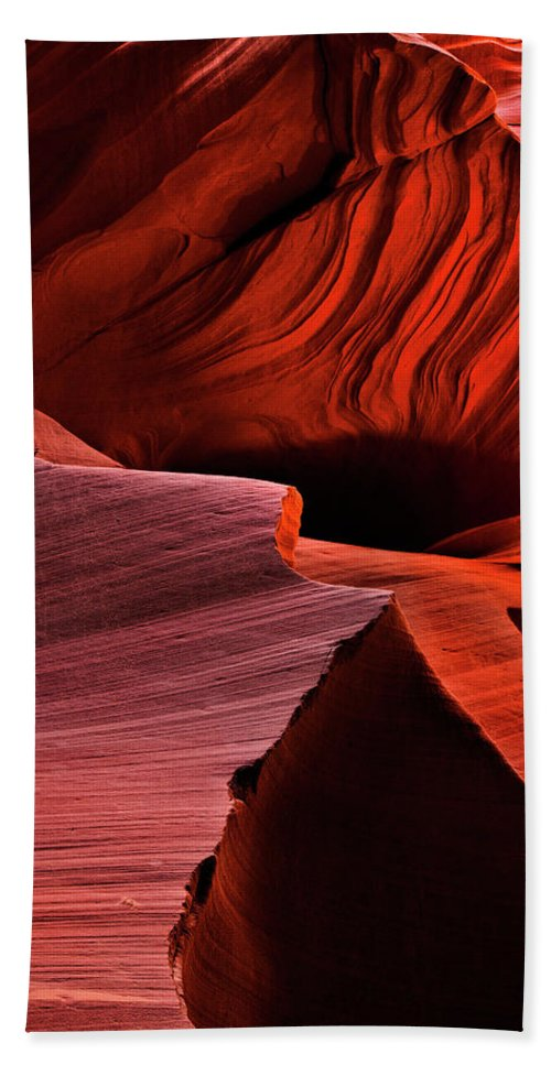 Antelope Canyon Beach Towel featuring the photograph Red Rock Inferno by Mike Dawson
