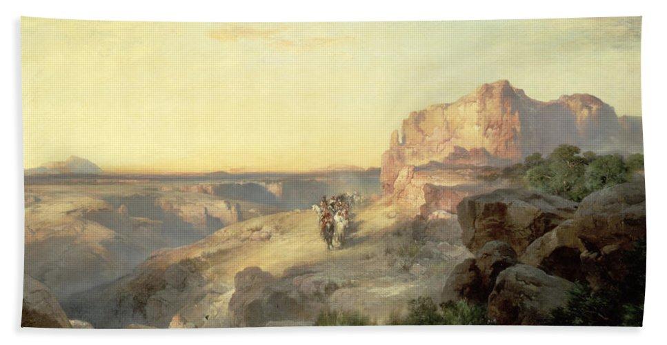 Thomas Moran Beach Towel featuring the painting Red Rock Trail by Thomas Moran