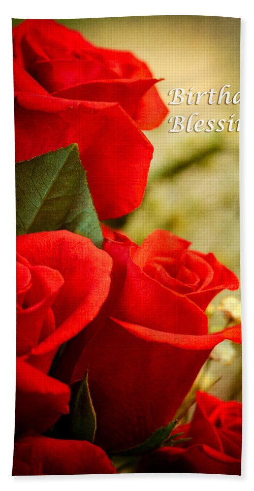 Flowers Beach Towel Featuring The Photograph Red Rose Birthday Greeting Card By Joni Eskridge