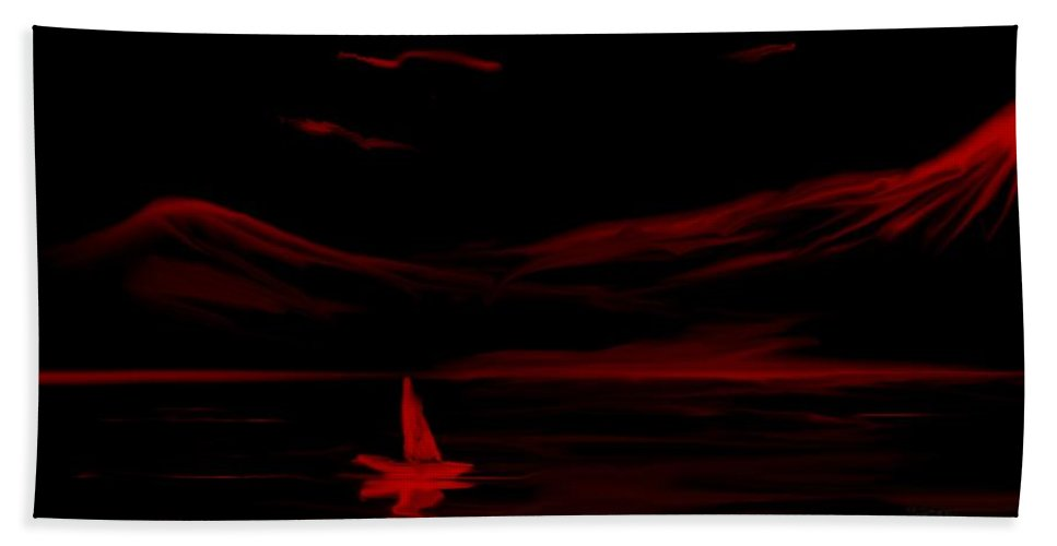 Digital Art Beach Towel featuring the digital art Red Sail by David Lane