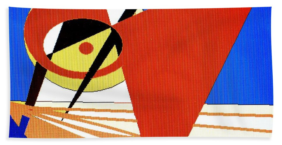 Boat Beach Towel featuring the digital art Red Sails In The Sunset by Ian MacDonald