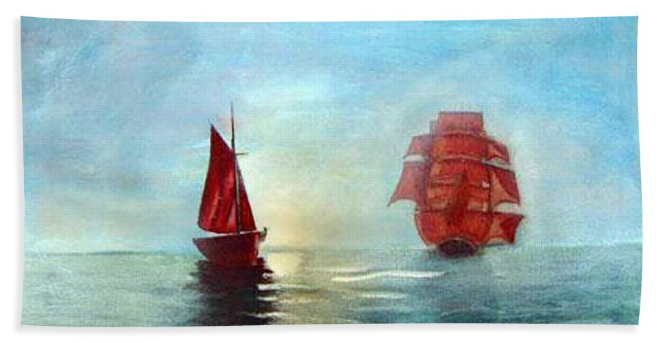 Sail Ship Beach Towel featuring the painting Red Sails In The Sunset by Richard Le Page