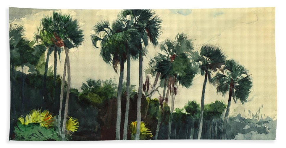 19th Century American Painters Beach Towel featuring the painting Red Shirt Homosassa Florida by Winslow Homer