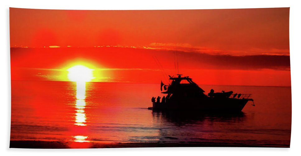 Boat Beach Towel featuring the photograph Red Silhouette by Douglas Barnard