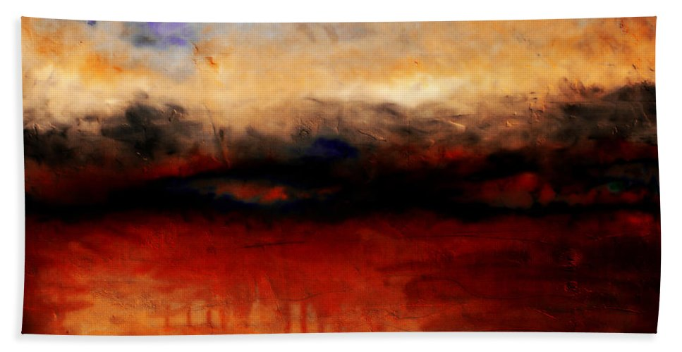 Night Beach Towel featuring the painting Red Skies At Night by Michelle Calkins