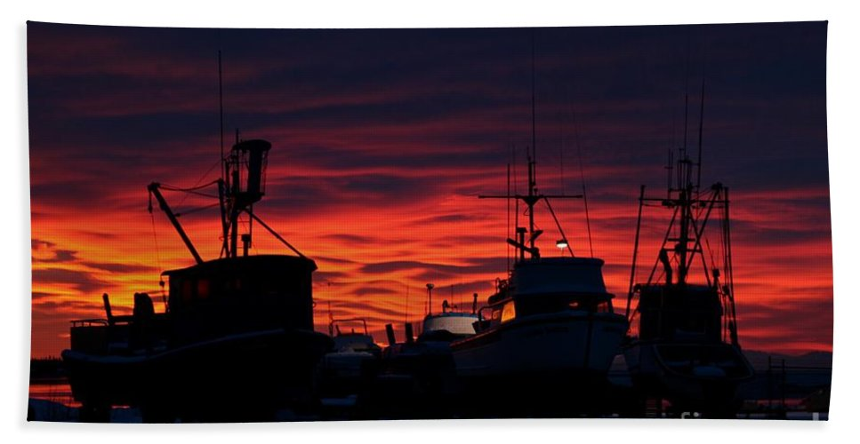 Sunset Beach Towel featuring the photograph Red Sky At Night by Rick Monyahan