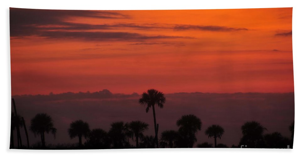 Big Cypress National Preserve Beach Towel featuring the photograph Red Sky by David Lee Thompson