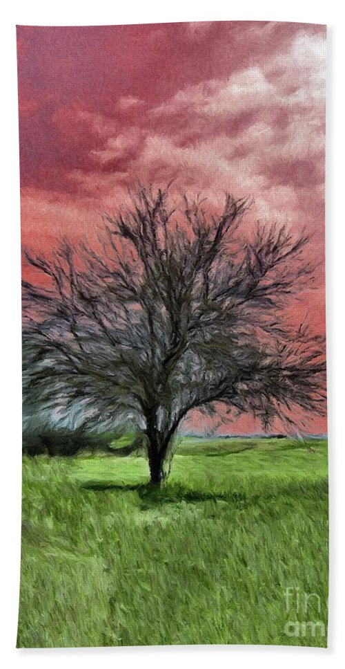 Red Beach Towel featuring the painting Red Sky by Jeffrey Kolker