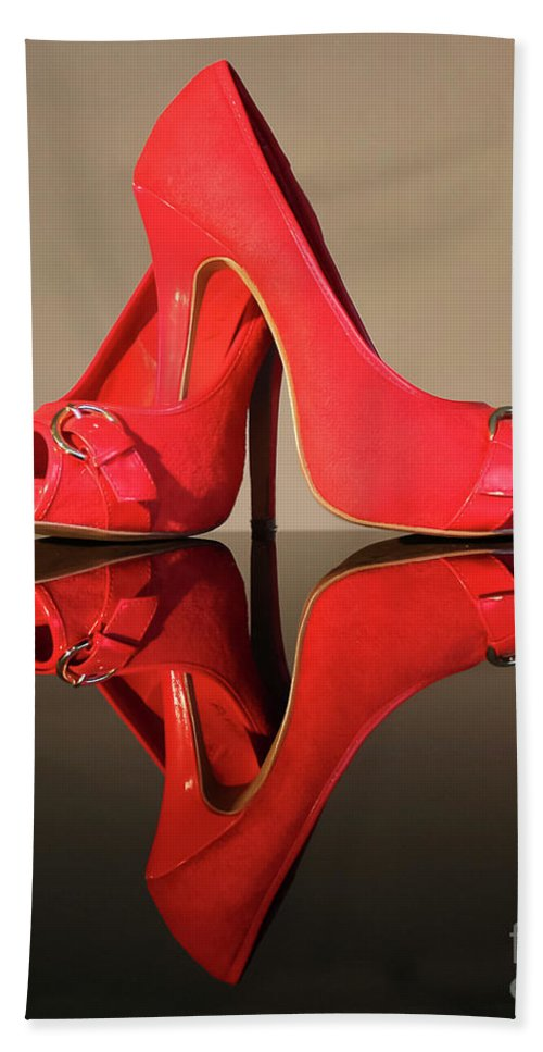Shoes Beach Towel featuring the photograph Red Stiletto Shoes by Terri Waters