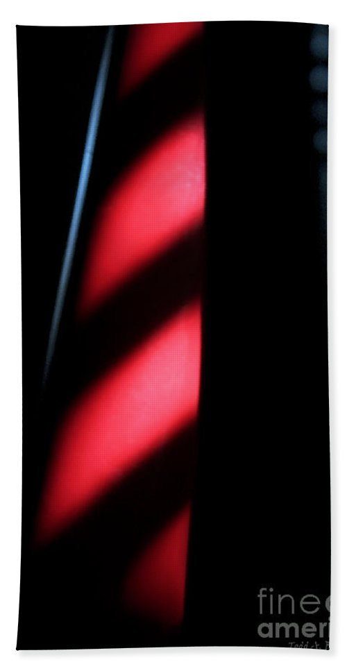 Abstract Beach Towel featuring the digital art Red Stripes by Todd Blanchard