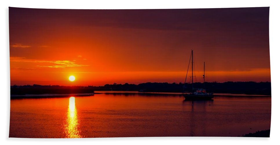 Sunset Beach Towel featuring the photograph Red Sunset by Angela Sherrer