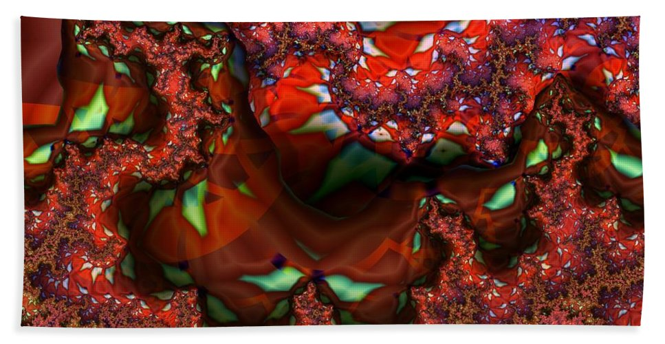 Berry Beach Towel featuring the digital art Red Thread by Ron Bissett