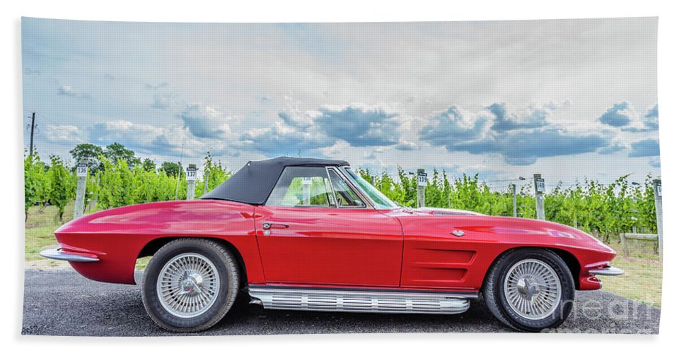 Auto Beach Towel featuring the photograph Red Vintage Corvette Sting Ray Vineyard by Edward Fielding