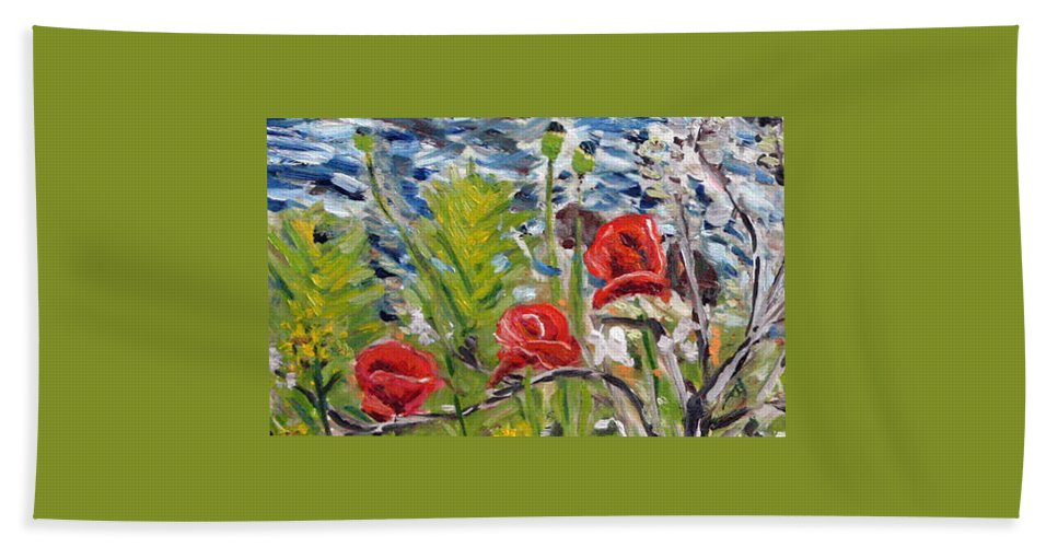 Landscape Beach Towel featuring the painting Red-weed - Detail 1 by Pablo de Choros