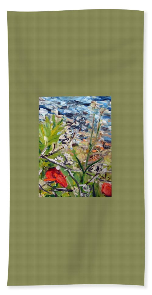 Landscape Beach Sheet featuring the painting Red-weed - Detail 2 by Pablo de Choros