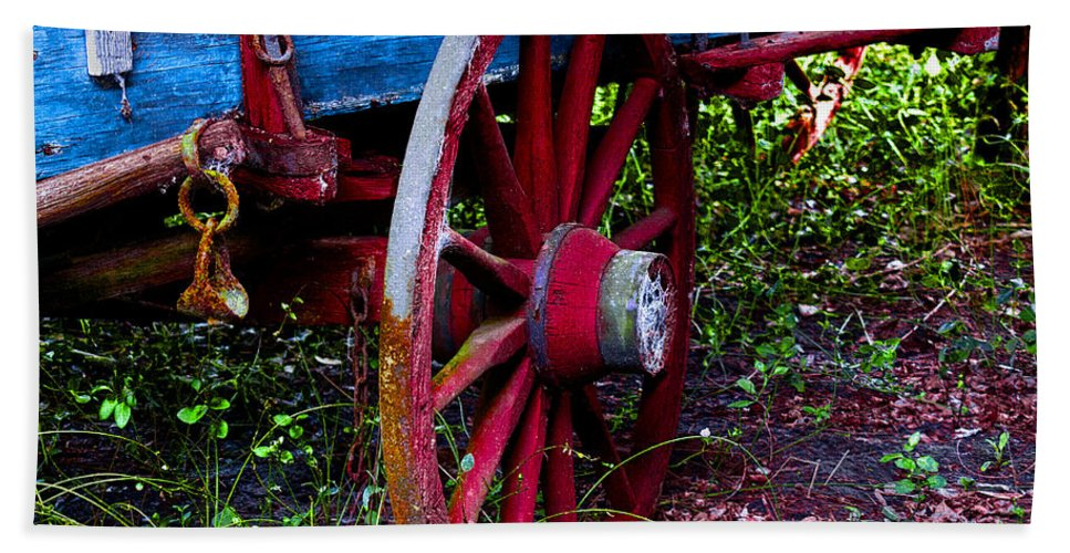 Wagon Beach Towel featuring the photograph Red Wheel by Christopher Holmes