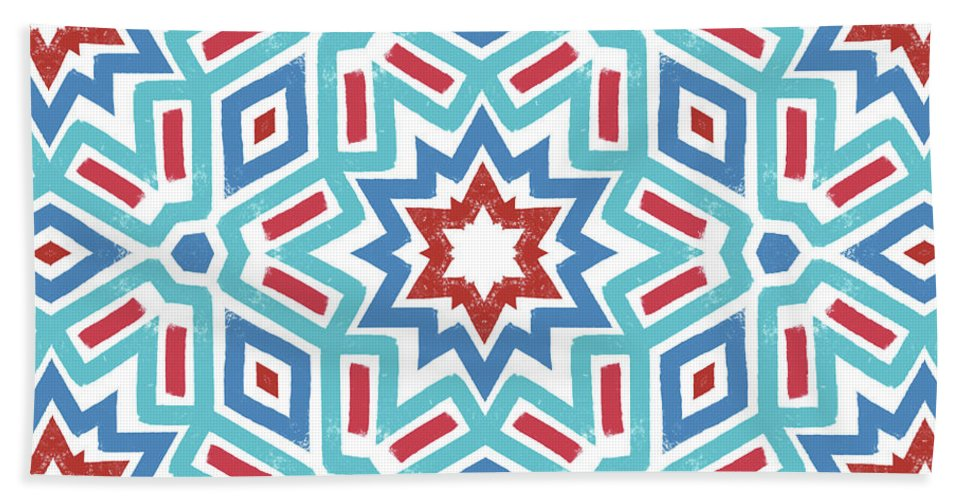 Red Beach Towel featuring the digital art Red White And Blue Fireworks Pattern- Art By Linda Woods by Linda Woods