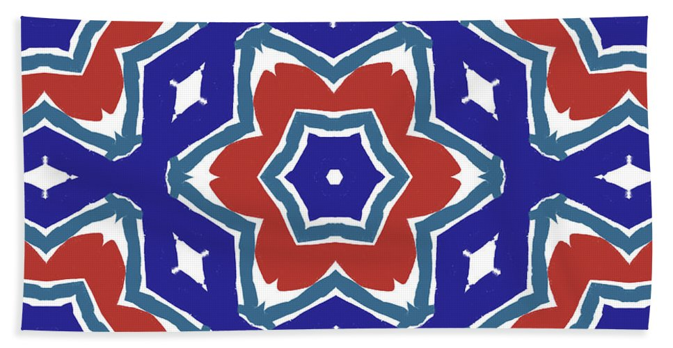 Red Beach Towel featuring the digital art Red White And Blue Star Flowers 1- Pattern Art By Linda Woods by Linda Woods