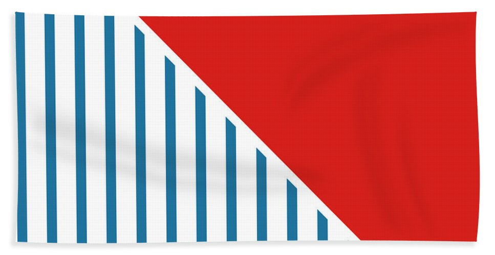 Red Beach Towel featuring the digital art Red White And Blue Triangles 2 by Linda Woods